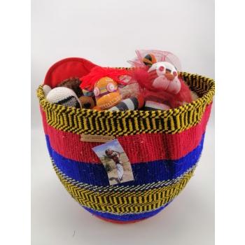 KIONDO - Panier de rangement jaune et rouge équitable en upcycling de laine
