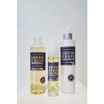 Coffret douche & soins corps  bio lavande et olive - Plaisant savons & cosmétiques