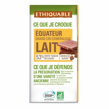 ETHIQUABLE - Chocolat Lait Grand Cru Equateur 53%