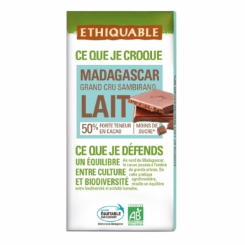 ETHIQUABLE - Chocolat Lait Grand Cru Madagascar 50%