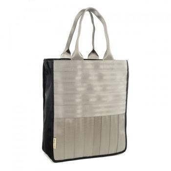 Sac-cabas Véronique gris clair en ceintures de sécurité recyclées