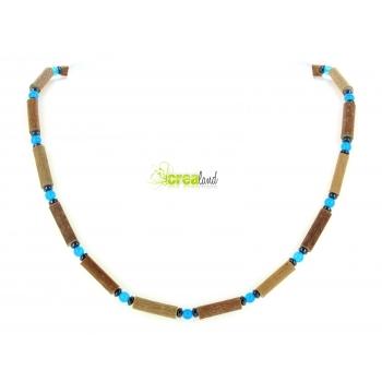 Collier en noisetier jade teinté bleu et hématite Modèle 2