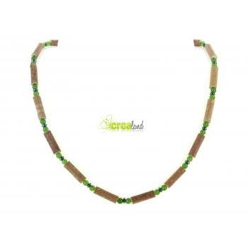 Collier en noisetier jade teinté vert pomme et hématite Modèle 5