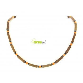 Collier en noisetier jade teinté orange et hématite Modèle 1