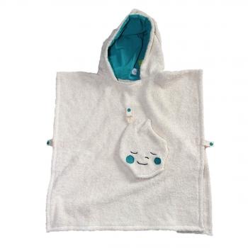 Poncho de bain coton bio capuchon bleu