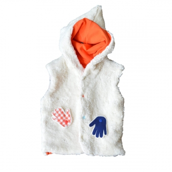 Veste sans manches à capuche orange