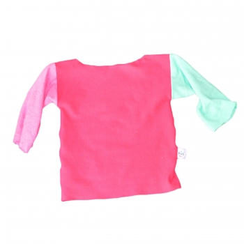 T-Shirt manches longues fuchsia, rose et vert d'eau