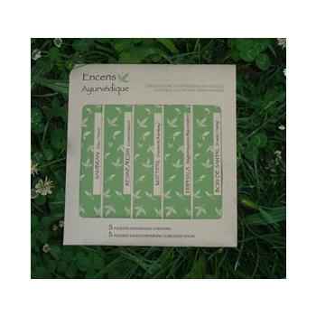 Palette d'encens ayurvedique - 5 paquets de 12 bâtons