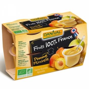DANIVAL - Purée pomme & mirabelle 100% France bio sans sucres ajoutés