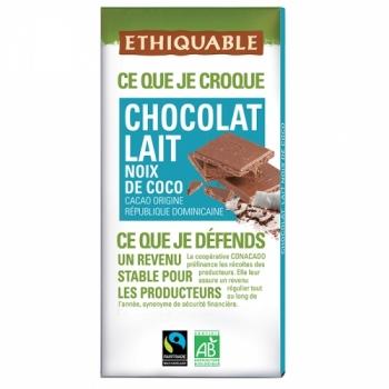 ETHIQUABLE Chocolat Lait Noix de Coco bio & équitable