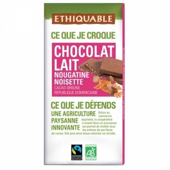 ETHIQUABLE Chocolat Lait Nougatine Noisette bio & équitable