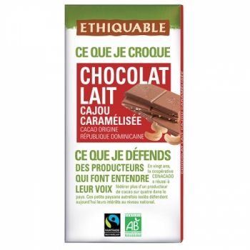 Chocolat Lait Cajou Caramélisée bio & équitable