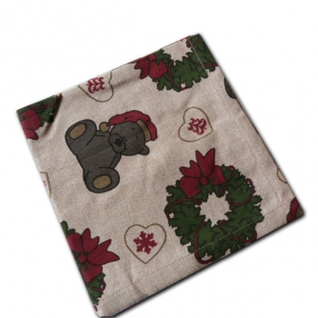 Serviettes de Table x 6 ( 40x40 cm ) - coton bio- Fond taupe- Imprimé de Noël
