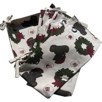 Panière et 3 Torchons (50x70 cm) en pur coton bio- Fond beige-Imprimé de Noël