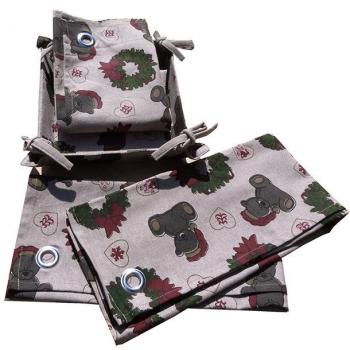 Panière et 3 Torchons (50x70 cm) en pur coton bio- Fond Taupe-Imprimé de Noël