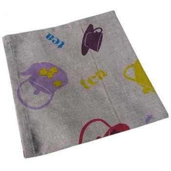 Serviettes de tablex4 ( 45x45 cm ) - Imprimé théière - coton biologique