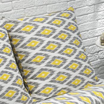 Lot de 2 Taies d'oreiller - coton bio - 57 fils/cm2 ( 63x63 cm ) - Coloris Gris/Jaune