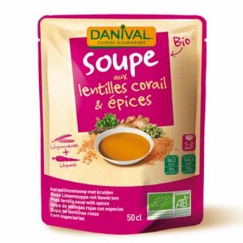 DANIVAL - Soupe bio aux lentilles corail & épices 50 cl