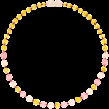 Collier bébé - Ambre et Calcédoine/Quartz rose