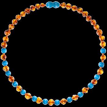 Collier bébé - Ambre et Turquoise bleu