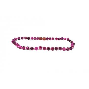 Œil du Tigre teintée rose - Collier pierre naturelle