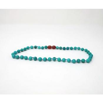 Howlite teintée bleue turquoise  - Collier pierre naturelle