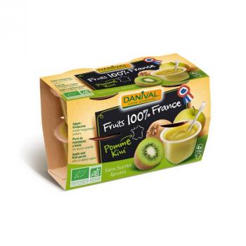 DANIVAL - dessert pomme kiwi 100% france 4x100g