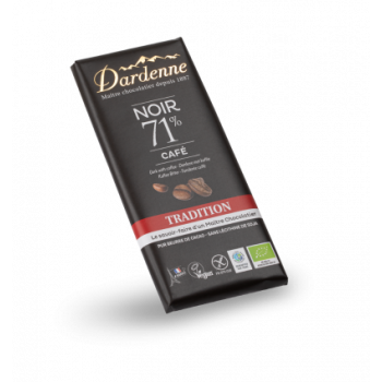 DARDENNE - Tablette Chocolat Noir 71% Tradition au Café 70g