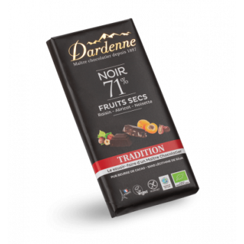 DARDENNE - Tablette Chocolat Noir Fruits Secs Tradition 180g