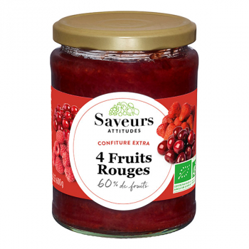 SAVEURS ATTITUDES - confiture extra de quatre fruits rouges bio