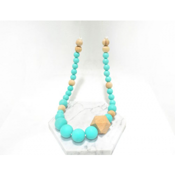 Collier silicone & bois classic turquoise