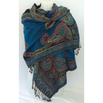 Étole laine bouillie transparente, brodée à la main sur des motifs paisley - Bleu canard et multicolore