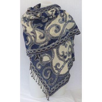 Étole laine bouillie transparente, brodée à la main sur des motifs paisley - blanc et bleu jean