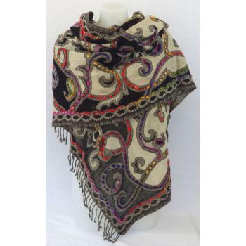 Étole laine bouillie transparente, brodée à la main sur des motifs paisley - blanc, noir et multicolore
