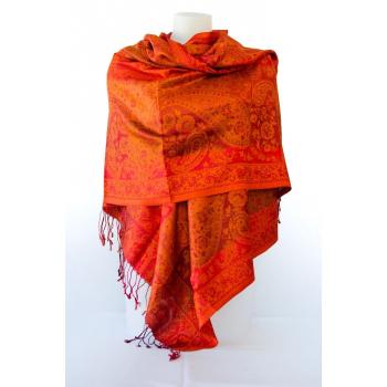 Foulard en soie - Rouge et orange