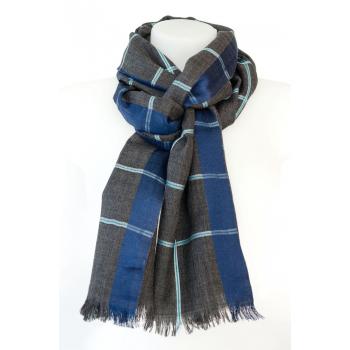 Echarpe à carreaux en laine et soie