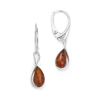 Boucles d'oreilles  cognac en ambre  de la Baltique sur argent 925