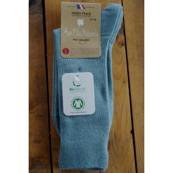 chaussette 100% coton bio bleu norvege