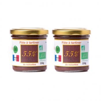 Offre spéciale lot de 2 Pâte à tartiner bio 55% 150g DLUO 08/04/2020, -20%