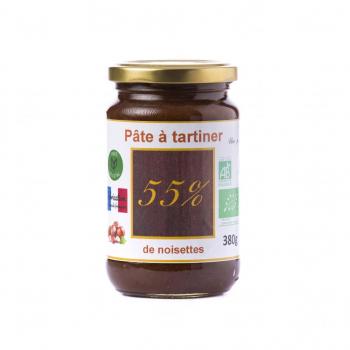 Pâte à tartiner bio 55% de noisettes - 380g, DLUO dépassée, -40%