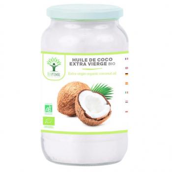 Huile de Coco Bio Extra Vierge Naturelle - Pour Cheveux Corps Peau Visage Lèvres - Cuisson des Aliments - 1 kg