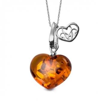 Collier cœur en ambre sur argent rhodié