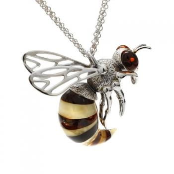Modèle unique, collier abeille sur argent 925/1000