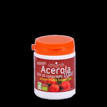 Acérola 1000 bio native - arôme fruit rouge bio - 30 comprimés 17% de vitamine c