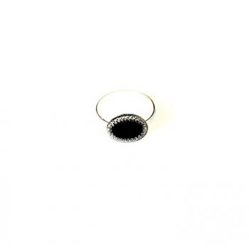 Précieuse bague argent verre ovale. Bague artisanale en bouton ancien
