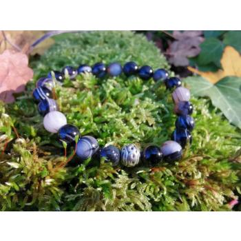 Bracelet d'Agate noir rubanée