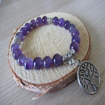 Bracelet améthyste et arbre de vie