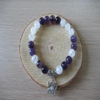 Bracelet en Améthyste et Cristal de roche craquelé