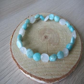 Bracelet en amazonite et pierre de lune