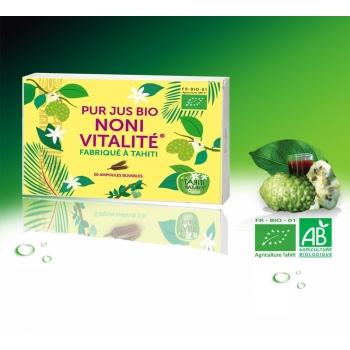 jus de Noni Bio de Tahiti 100% pur - 20 Ampoules